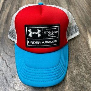 Under Armour mesh trucker hat red white blue